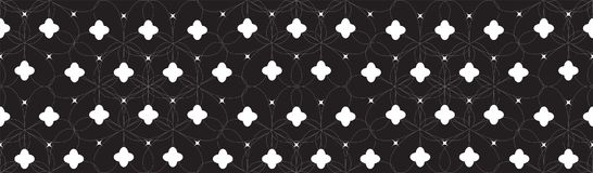 Symmetrical Seamless Geometric Pattern with White Abstract Flowers and Black Background. Vector Stock Image