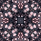 Symmetrical seamless pattern with beautiful pink flowers on black background.  royalty free illustration