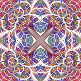 Symmetrical seamless pattern of the leaves. You can use it for i Royalty Free Stock Images