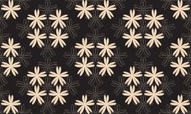 Symmetrical Seamless Pattern with White Flowers on Black Background. Vector Stock Photography