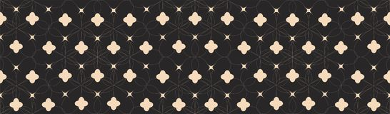 Symmetrical Seamless Pattern with White Lines and Abstract Shapes on Black Background. Vector Royalty Free Stock Photo