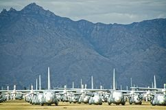 Retired Aircraft in the Boneyard. Symmetrical shot of hundreds of retired aircraft at the AMARG Boneyard facility in Tucson, Arizona Stock Photography