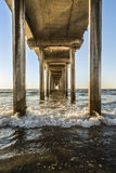 Symmetrical shot under Scripps Pier during sunset in La Jolla, San Diego, California Stock Photography