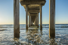 Symmetrical shot under Scripps Pier during sunset in La Jolla, San Diego, California Stock Images