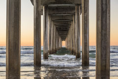 Symmetrical shot under Scripps Pier during sunset in La Jolla, San Diego, California Royalty Free Stock Photo