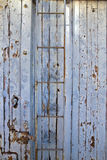 Symmetrical slats painted wooden old train car Royalty Free Stock Image