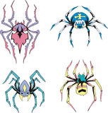 Symmetrical spiders. Set of color vector illustrations Stock Images