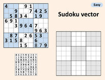 Symmetrical Sudoku with answers. Vector set Sudoku. Blank template stock illustration