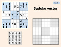 Symmetrical Sudoku with answers. Vector set Sudoku. Blank template Royalty Free Stock Images