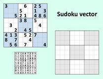 Symmetrical Sudoku Blank template. Symmetrical Sudoku with answers Vector set. Blank template stock illustration
