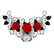 Symmetrical tattoo of red roses Stock Photos
