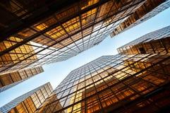 Symmetrical upwards shot of high-rise modern office block, Hong Kong Royalty Free Stock Photos