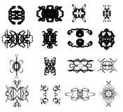 Symmetrical vector shapes isolated over white background. Elegant pattern Stock Image