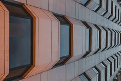 Symmetrical geometry building`s window stock photo