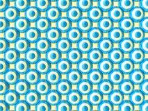 Symmetrically sidan - vid - sidan fördelade blåa och vita kulöra sfärer på ljust - gul bakgrund vektor illustrationer
