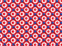 Symmetrically sidan - vid - sidan fördelade röda och vita kulöra sfärer på ljust - blå bakgrund royaltyfri illustrationer