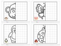 Symmetrisch beeld - Aantekenvel voor onderwijs vector illustratie