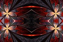 Symmetrisch bloempatroon in de stijl van het gebrandschilderd glasvenster op ligh Stock Afbeeldingen