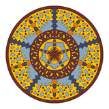 Symmetrisch cirkelpatroon van gekleurde mandala, vectorronde Stock Foto's