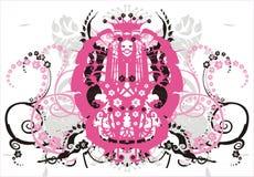 Symmetrisch ornament met bloemen en krullen - vector stock illustratie