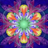 Symmetrisch patroon in de stijl van het gebrandschilderd glasvenster Blauw, purper, stock illustratie