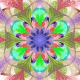 Symmetrisch patroon in de stijl van het gebrandschilderd glasvenster Roze, blauw, p royalty-vrije illustratie