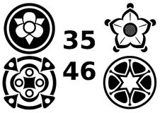 Symmetrisch Symbool en Logo Set Stock Foto