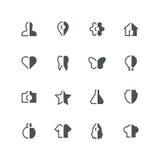 Symmetrische half gekleurde pictogrammen Royalty-vrije Stock Afbeeldingen