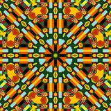 Symmetrische Kaleidoskopmode des abstrakten bunten Musters des Hexagons quadratischen geometrischen nahtlosen lizenzfreies stockfoto