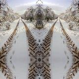 Symmetrische tractorafdrukken op een landweg in sneeuw Royalty-vrije Stock Afbeeldingen