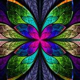 Symmetrische veelkleurige fractal bloem in gebrandschilderd glasstijl. Co Royalty-vrije Stock Fotografie
