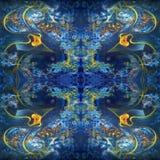 Symmetrisk abstrakt modell i blått med orange beståndsdelar Oljem?lning p? kanfas vektor illustrationer
