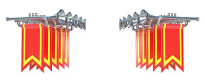 Symmetrisk fanfar tio försilvrar trumpeter och röda flaggor 3D stock illustrationer