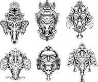 Symmetriska Ganesha maskerar Arkivfoto