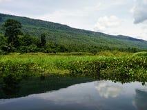 Symmetriskt landskap av berget och floden Royaltyfria Foton