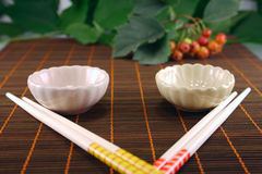 Symmetry. Set of the Japanese ware removed on a dark bamboo napkin Royalty Free Stock Photo