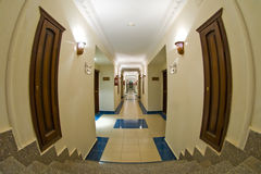 Hotel corridor fisheye Stock Photo