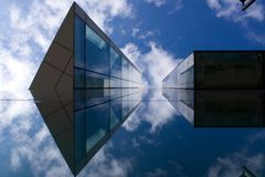 Symmetry. Reflected detail, HBOS building, Manchester UK Royalty Free Stock Image