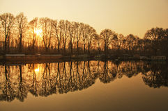 Symmetry. Reflections on River Jhelum, Kashmir, India royalty free stock photography