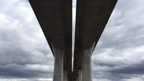 Architecture lines under the higway bridge. Symmetry. Architecture lines under the higway bridge.Time lapse stock video
