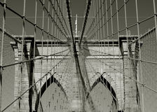 Symmetry of the Brooklyn Bridge support cables Royalty Free Stock Photo