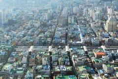 Symmetry of city streets. Busan, South Korea - November 28th, 2015: Busan, view of city Busan from Busan Tower in Yongdusan Park Stock Photo