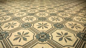 Symmetry in the floor tile of the old station stock image