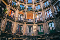 Symmetry of old apartments house in Barcelona Royalty Free Stock Image