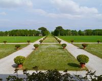 Symmetry and perspective in the garden Stock Image