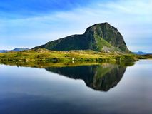 Symmetry reflection in Gimsoysand. Lofoten islands,Norway Royalty Free Stock Images
