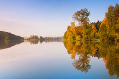 Symmetry reflection on the lake Royalty Free Stock Photos
