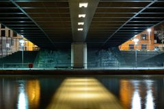 Symmetry under the bridge Royalty Free Stock Images