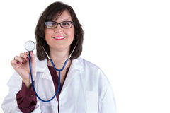 Sympathetic Healthcare Intern with Stethoscope Stock Photo