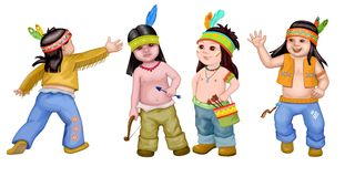 Sympathetic kids. Sympathetic Indian kids on the white background stock illustration